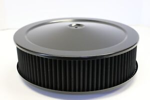 14 X 4 Round Black Washable Black Air Cleaner Assembly Flat Base Sbc 350 Bbc