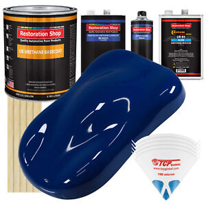 Marine Blue Slow 1 Gallon Automotive Car Paint Kit Urethane Basecoat Clearcoat