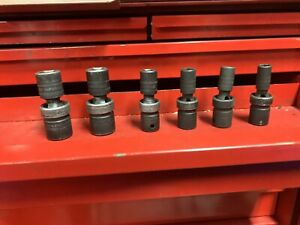 Snap On 1 2 Dr 6 Pt Metric Impact Swivel Universal Socket Set 10mm 19mm