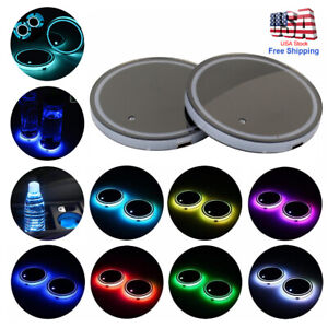 2x Colorful Led Car Cup Holder Pad Mat For Auto Interior Atmosphere Lights Lamps