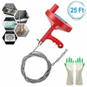 Plumbing Snake Drain Auger 25 Feet Professional Sink Snake For Removing Sink Cl