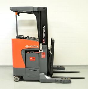 2017 Toyota 8bru18 3500 Lb Electric Forklift Reach Truck Narrow Aisle Single
