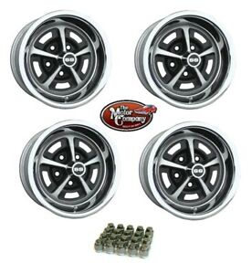 1969 1970 Chevelle 14 7 14 X 7 Ss Silver Black Painted Complete Wheel Set