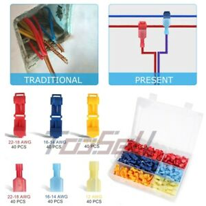 240pcs 22 12 Awg Insulated T tap Quick Splice Combo Wire Terminal Connectors Kit
