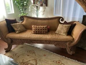 French Indonesian Camel Back Carved Sofa Lions Head