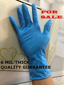 6 Mil Heavy Duty 50 box Powdered Durable Hand Nitrile Gloves Blue Non Latex viny