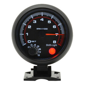3 75universal Car Tachometer Tacho Gauge Meter Led Light 0 8000 Rpm 12v Quality