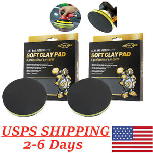 2pcs 6 Clay Bar Pad Buffing Sponge Polishing Disc Car Detailing Cleaning Pad Us
