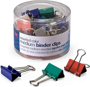 Binder Clips In Dispenser Tub Medium Assorted Colors 23 pack