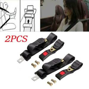 2x Car Seat Belt Lap 3 Point Safety Travel Adjustable Auto Universal Black