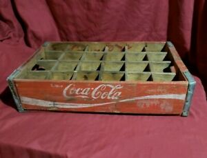 Vintage COCA-COLA Wooden Crate Carrier COKE Case Red 24 Bottle Chattanooga 1977
