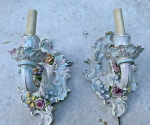Pair Of Vintage Antique German Porcelain Floral Decorated Wall Light Sconces