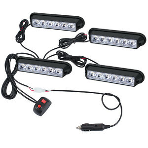 4pcs Led Amber Light Emergency Warning Strobe Flashing Bar Hazard Grill Truck