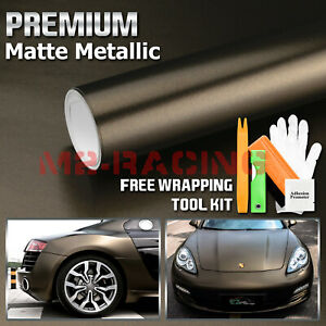 Premium Matte Metallic Satin Pearl Black Bronze Vinyl Car Wrap Sticker Decal