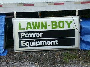Vintage Double Sided Lighted Lawn boy Sign Rare Power Equipment 6 3