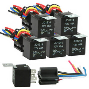 5 Pack 12v 30 40a Amp 5 pin Spdt Automotive Relay With Wires Harness Socket Set