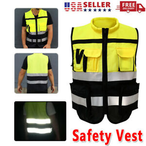 Reflective Safety Working Vest W Zipper High Visibility Jacket Secure Waistcoat