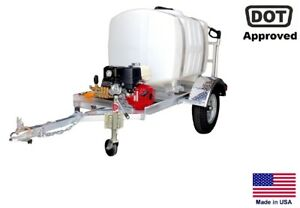 Pressure Washer Commercial Trailer Mounted 13 Hp 200 Gallon Highway Ready