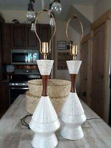 Vintage Pair Mid Century Mcm Ceramic Teak Table Lamps No Shades