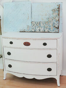 Antique Painted Wood Dresser Buffet Sideboard Chest Of Drawers Bow Front Curvy