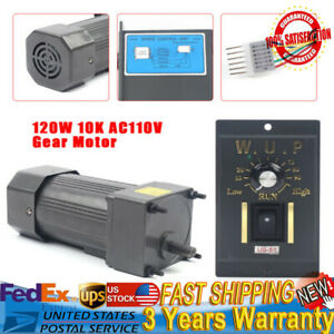 120w 110v Ac Gear Motor Electric Motor W Variable Speed Controller 1 10 135rpm