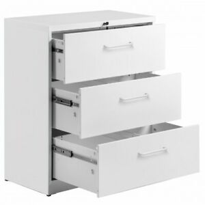 Lateral File Cabinet Office Lock Design 3 Drawers White
