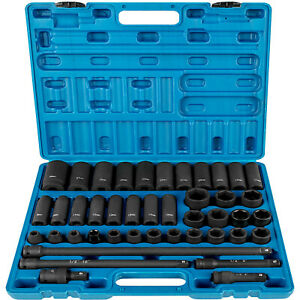 43 Pcs Impact Socket Set 1 2 Inch Ase Standard 19pcs Deep 6 Point Extension Bar