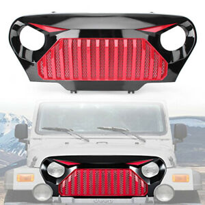 Glossy Red Black Angry Grille Gladiator Grill For 1997 2006 Jeep Wrangler Tj