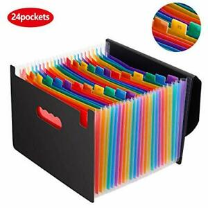 Expanding File Folder 24 Pockets With Cover Lid Multi color Accordian A4 Letter