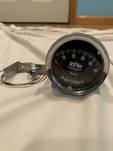 1960 s Vintage faria 5k Rpm Tachometer 5000 Rpm Curved Glass Face
