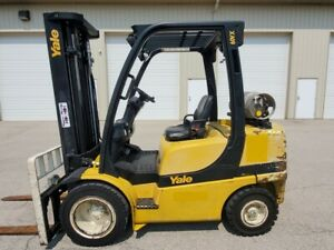 2008 Yale Glp060vxevse093 3 Stage Mast Pneumatic Tires Forklift Lpg Hyster