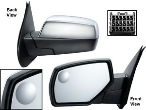 For Mirror Heated W Spotter Glass Chrome Cap 14 19 Gm Pickup Truck Driver Side