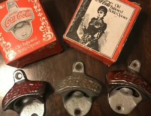 3 COCA-COLA OLD FASHIONED WALL MOUNTED STATIONARY BOTTLE OPENER  NEW MIB LOT