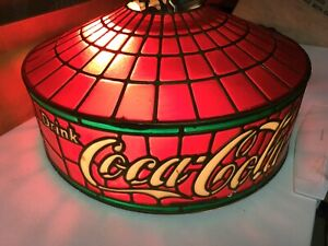 Vintage COCA-COLA XL Tiffany Stylite Stained Glass Hanging Light USA
