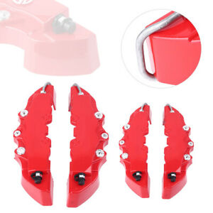 4pcs Car Disc Brake Caliper Covers Parts Front Rear 3d Style Red Abs