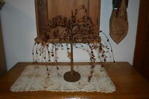 New Primitive Burgundy Pip Berry Willow Tree With Stars Home Decor
