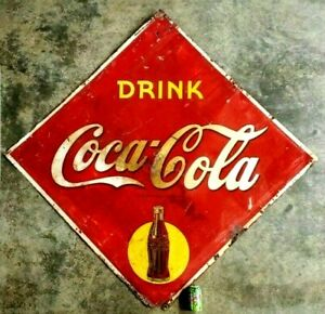 Original Rare 1940's Coca Cola Soda Pop Large Drink Coca Cola Diamond Tin Sign