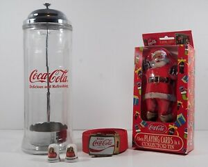 vintage coca cola collectibles lot Straw Dispenser Playing Cards Thimbles Belt