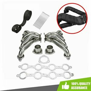 Block Hugger Exhaust Headers Stainless Steel Wrap Tape For Chevy Small Block Ls1