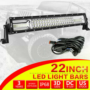 22 Inch Tri row Cree Led Light Bar Combo Work Fog Lamp Offroad 4wd Truck Boat
