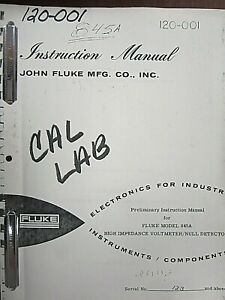 Fluke Model 845a High Impedance Voltmeter Null Detector Instruction Manual
