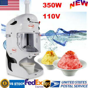 90kg h Electric Ice Shaving Machine Snow Cone Maker Ice Shaver Crusher 350w 110v