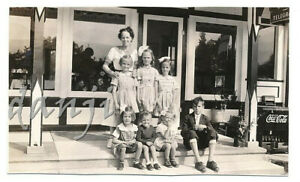 Lady+Kids by RESTAURANT with COCA-COLA Cooler at MOONLIGHT CAMP* 1936 Photo