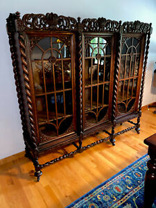 19th C Victorian Carved Oak Glass Antique China Cabinet Bookcase Paine Rare