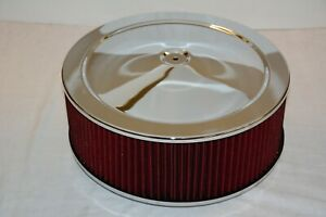 Chrome 14 X 5 Air Cleaner Red Washable Reusable Round Filter Element