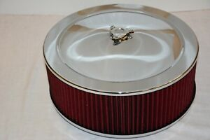 Chrome 14 X 5 Air Cleaner Red Washable Reusable Round Filter Wing Nut Kit