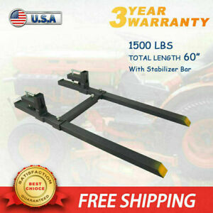 1500lb Tractor Pallet Forks Clamp On For Skid Steer Bucket 60 W Stabilizer Bar