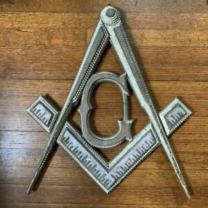 19th C Tramp Folk Art Masonic Square And Compass Lodge Fraternal Picture Frame