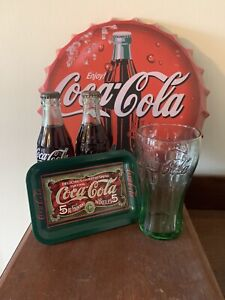 Vintage Coca Cola Lot UNOPENED 1950-70s Bottles  Tin Sign And Coaster