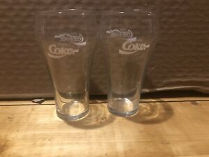 Lot Of 2. Coca Cola Vintage Bell Shaped 6 Inch Clear Glasses.